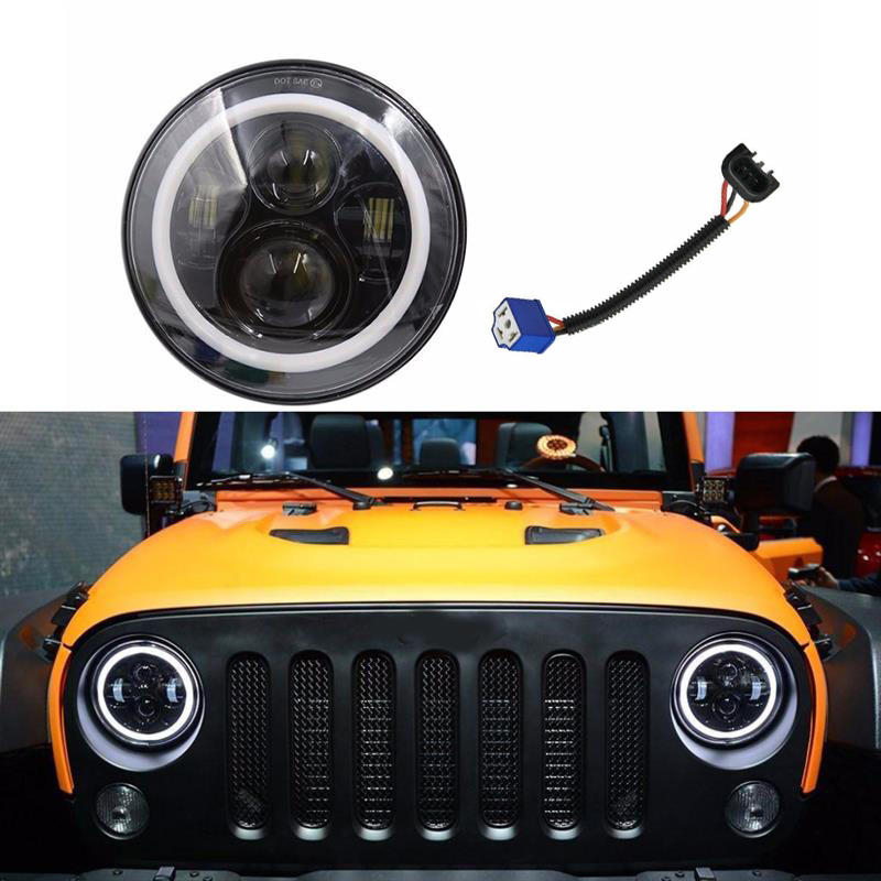 7 Inch Round LED Headlight with H4 to H13 Adapter Fit for Jeep Wrangler JK LJ TJ CJ Car Accessories