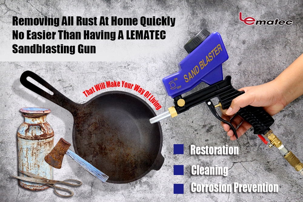 LEMATEC Super Blue Sandblaster Sand Blasting Gun For Rust Dust Remove Sandblaster Air Tool With One Free Tip Sandblasting Gun