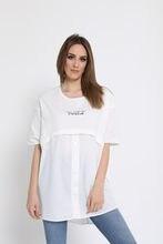 Bebe artı Kadın Baskılı Kısa Kol Tshirt Gömlek Beyaz Standart Beden