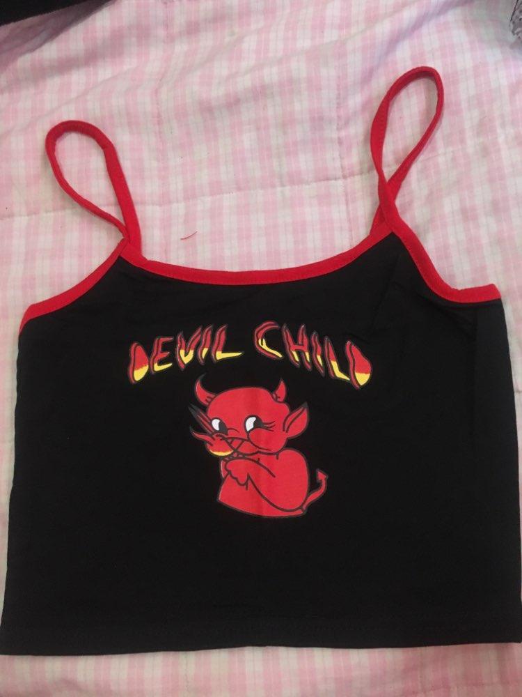 Devil Print Crop Top E-girl Punk photo review