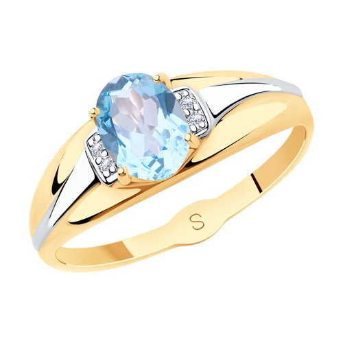 SOKOLOV Ring Gold With Topaz And Cubic Zirkonia