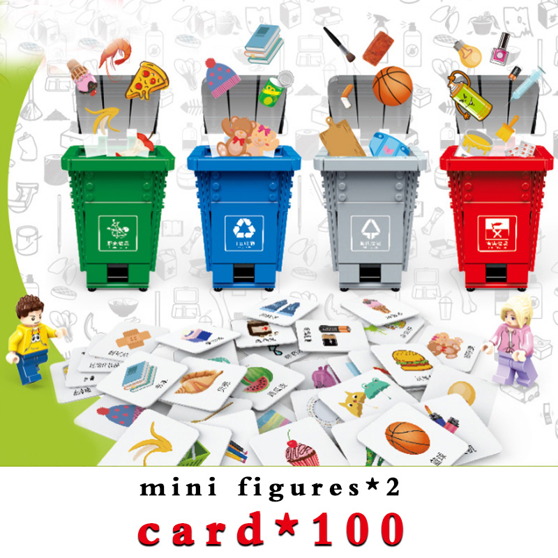 482pcs <font><b>Legoinglys</b></font> Building Block Trash Can Four Trash Cans+two Figures+card*100+instruction Manual Educational Toys For Children image