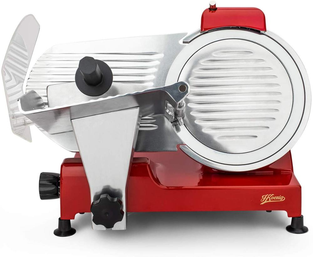 H. Koenig Slicers Proffesional Little, Italian Blade, 25 Cm, 282 RPM, Slice Thickness Adjustment, 240 W, Foil Back, Red