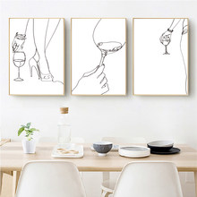 Wine Poster Abstract Woman Body One Line Drawing Prints Wine Lover Bar Decor Gift Minimalist Kitchen Wall Art Canvas Paintings