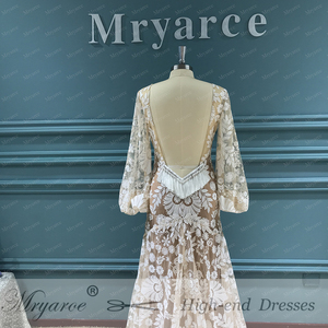 Image 3 - Mryarce 2020 Modern Bride Unique Lace Long Sleeve Boho Wedding Dress Bohemian Bridal Gowns