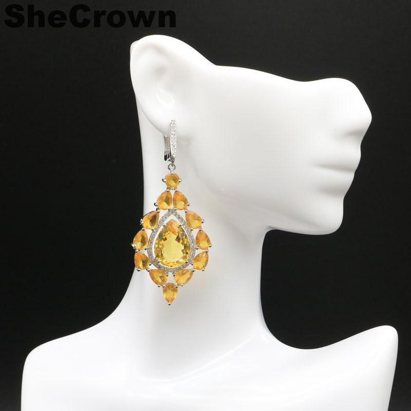 Elegant Long Big Tanzanite, White CZ Woman's Wedding Party Gift 925 Silver Earrings 62x33mm