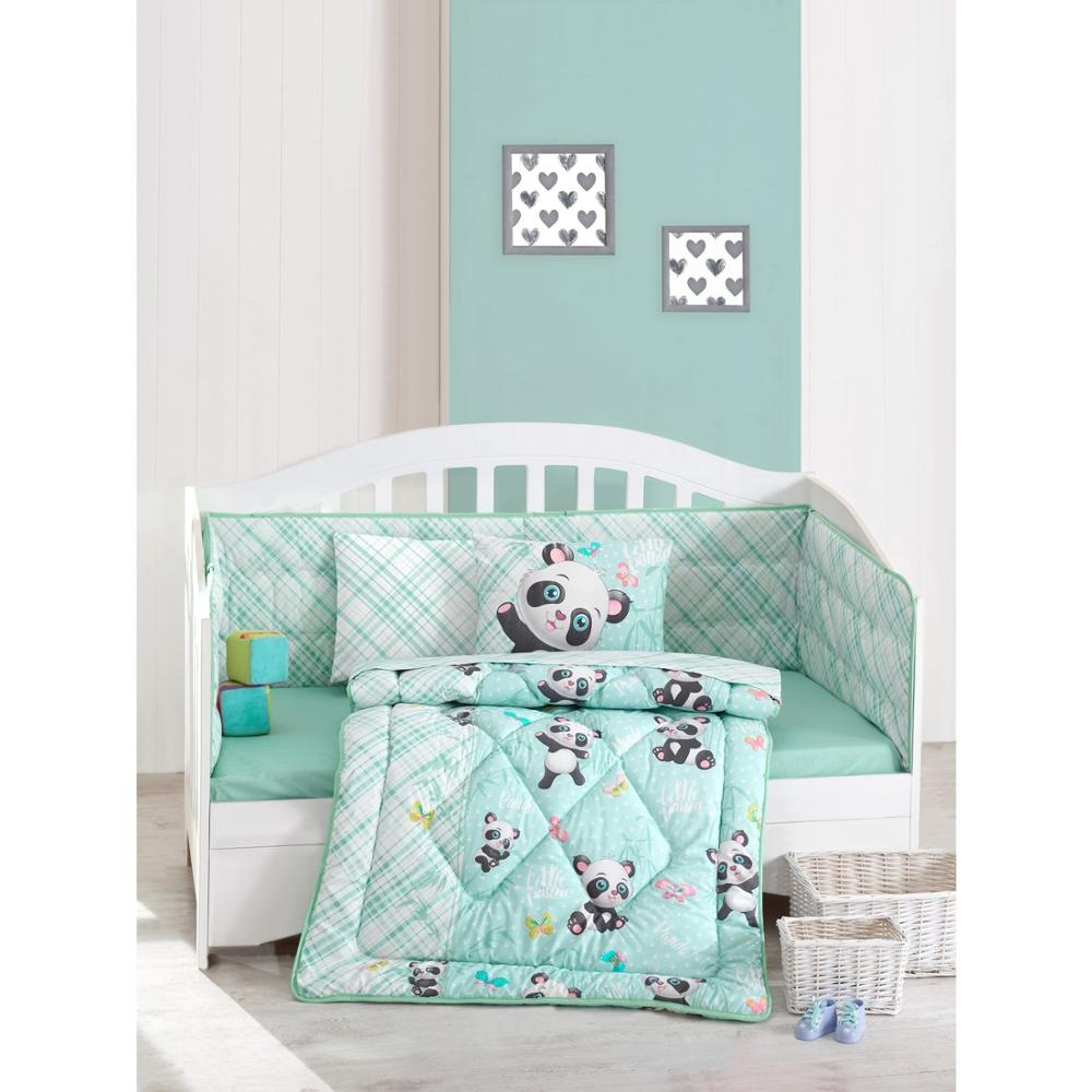 Made In Turkey PANDA Infant Baby Crib Bedding Set Bumper For Boy Girl Nursery Animal Baby Cot Cotton Soft Antiallergic Blue