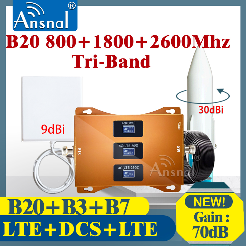 New!!Cellular Amplifier 4G B20 800 1800 2600Mhz Tri-Band 4G Cellphone Repeater GSM 2g 4g Network Mobile Signal Booster LTE DCS