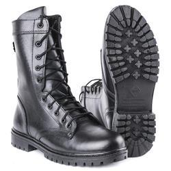 Semiseason, Botines negros de cuero genuino para hombre, zapatos altos, botas militares planas 0049 \ 11WA