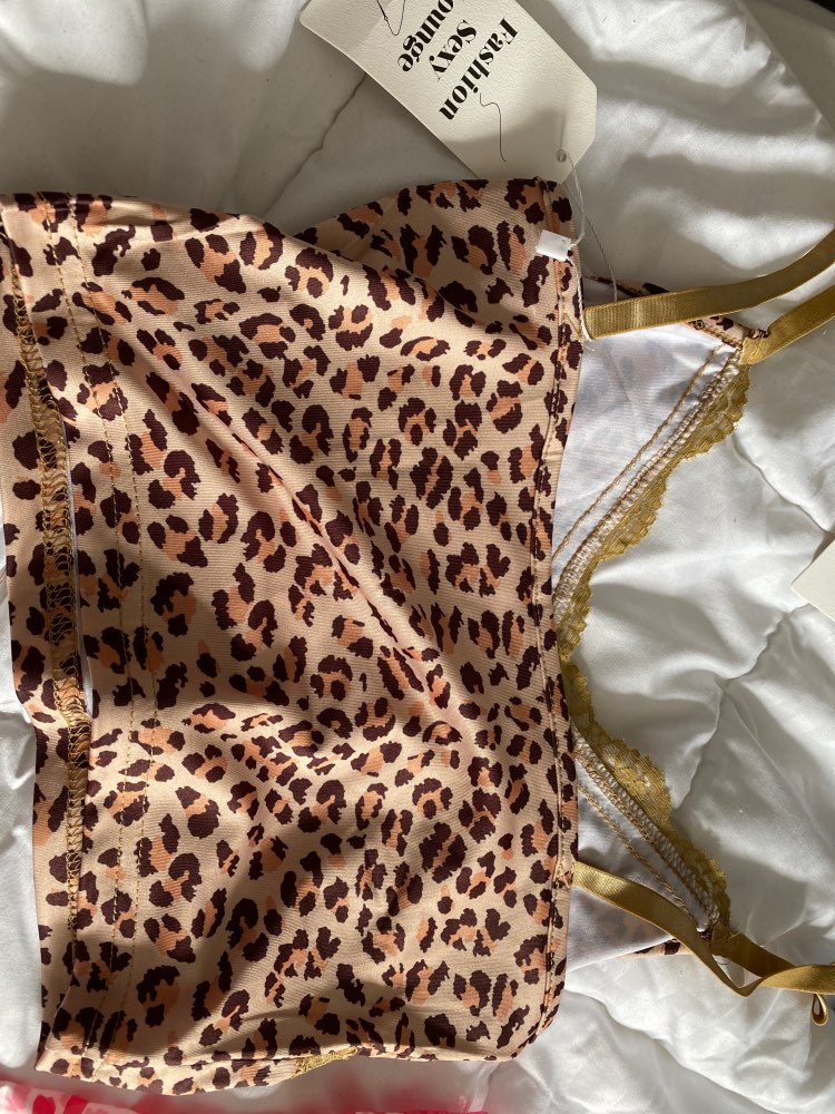 Leopard Spaghetti Strap Top woth Lace photo review