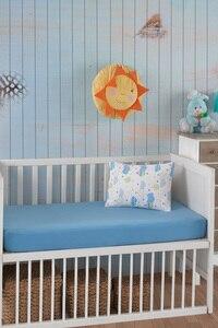 Женский Moda Детский комплект для новорожденных, однотонная кроватка, простыня, покрывало для матраса, 100% хлопок, 2 шт., защитная колыбель, комп...