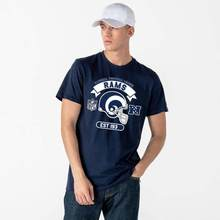 T-shirt neuf was Los Angeles RAMS casque bleu marine()