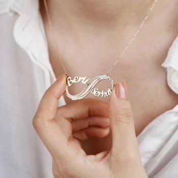 Personalized Name Customized  infinity eternal love zirconia  romantic  Pendant SILVER Jewelry Birthday Gifts Custom Necklace personalized infinity necklace two name necklace silver infinity name necklace love has no end love jewelry christmas gift