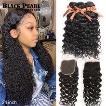שחור פנינה ברזילאי שיער Weave חבילות עם סגירת רמי שיער טבעי 3 חבילות עם סגירת מים גל חבילות עם סגירה