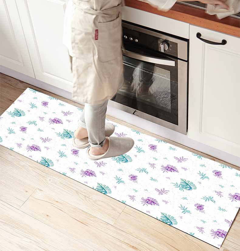 Else Purple Green Tropical Leaves 3d Print Non Slip Microfiber Kitchen Counter Modern Decorative Washable Area Rug Mat