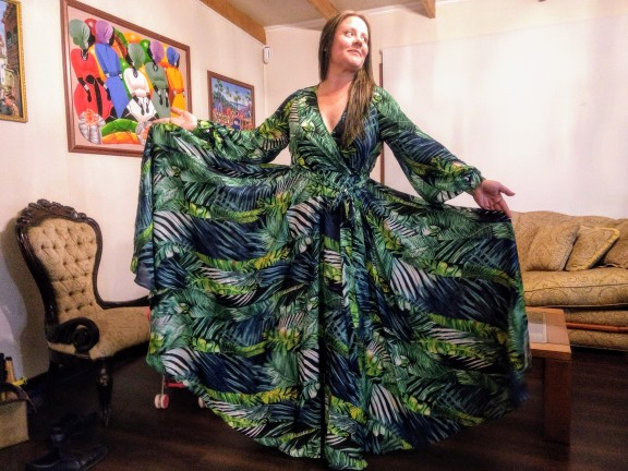 Long Sleeve Dress Green Tropical Beach Vintage Maxi Dresses Boho Casual V Neck Belt Lace Up Tunic Draped Plus Size Dress photo review
