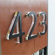 Kryształowy dom numery 0-9 ABC akrylowe 3D nowoczesny odkryty wodoodporny domowy Hotel drzwi płyty ze stali nierdzewnej list znak adres