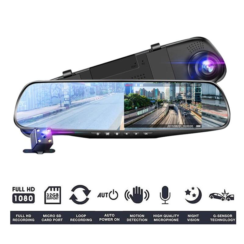 4,3 дюймовый автомобильный видеорегистратор, видеорегистратор ночного видения, видеорегистратор Full HD 1080P зеркальная камера 170 °, широкоуголь...