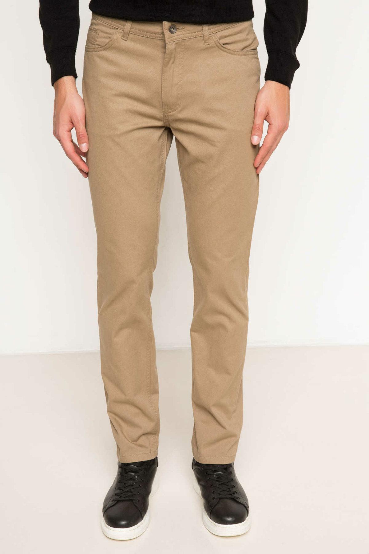 DeFacto Men Casual Long Pants Kahki Blue Solid Color Male Mid-waist Trousers Man Bottoms New Arrivals-H1609AZ17AU