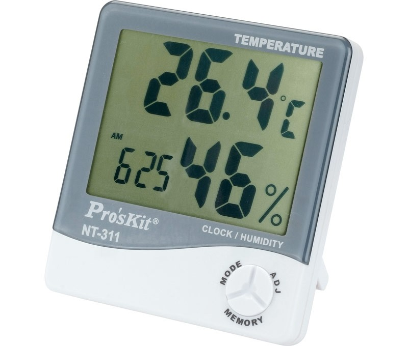 Thermometer Temperature's Strength Meter And Humidity With Watch Interior With Screen Large Display Proskit NT-311