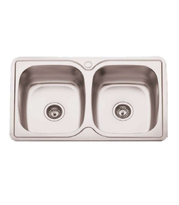Sink 2 Breast SS With Hole Faucet De8250