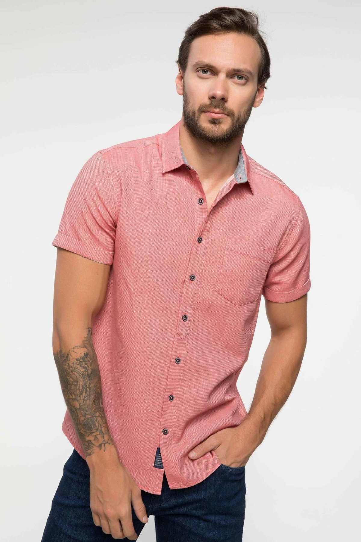 DeFacto Fashion Man Short Sleeve Shirt For Men's Casual Solid Comfort Shirts Leisure Simple Joker Tops Male Summer-I9635AZ18SM