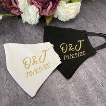 Mascarillas personalizadas con iniciales para pareja, regalo de dama de honor, máscara de algodón de compromiso del escuadrón de la novia, novio, recién casados