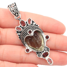 64x25mm 12.3g Egypt Goddess Smokey Quartz Face Created Amethyst Gift For Sister Silver Pendant