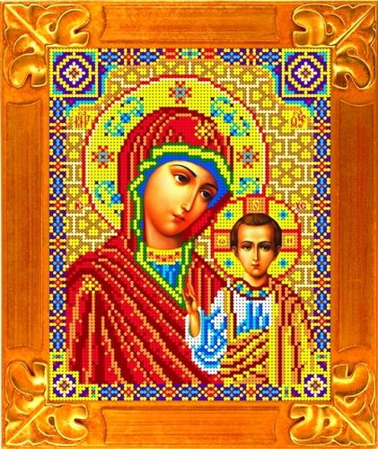 Кби-4023/1 Canvas With A Pattern For Beads Icon 'Mother Of God казанская', A4
