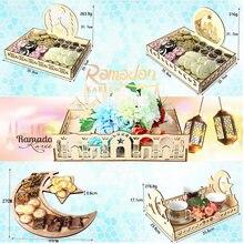 Bandeja de sobremesa de madeira artístico eid mubarak festa servindo talheres bandeja exibição decoração ramadan decoração para casa sobremesa bandeja