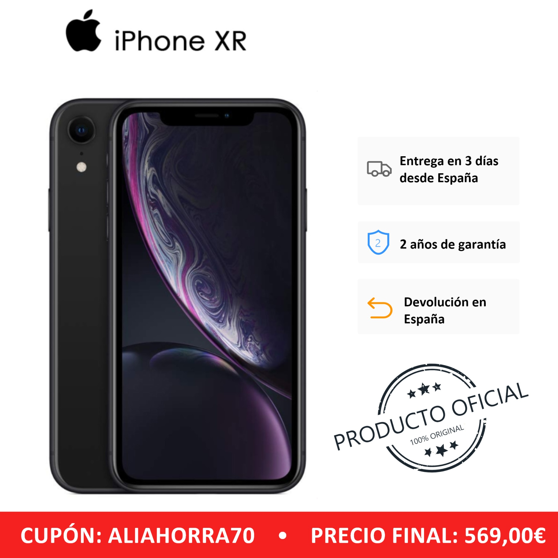 "Smartphone Apple IPhone XR, 64 GB, 3 GB RAM, Band 4G/LTE/Wi-Fi, 15,5 Cm (Pantalla 6.1 ""), Color Negro, Versión Española"