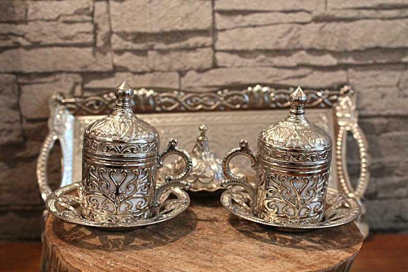 2 li set of 2 Copper Ottoman Turkish Coffee Cups Set Arabic Coffee Set Tea Cups Set Espresso Cups Made in Turkey Stylish and Unique