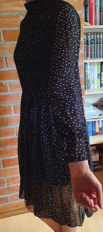 Women Dot Chiffon Dress 2019 Autumn and Winter New Long Sleeve Mid-calf Dress Joker Long Pleated Dresses Party Dresses 7160 50 reviews №3 145416