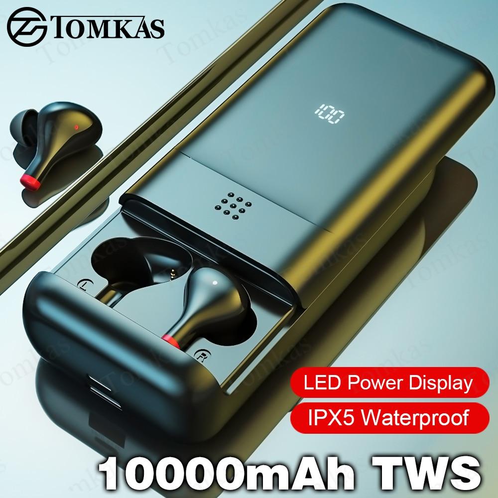 10000mAh TWS 5.0 Bluetooth Earphones LED Display Wireless Earphones IPX5 Waterproof Headphones Sport Earbuds Headsets With Mic