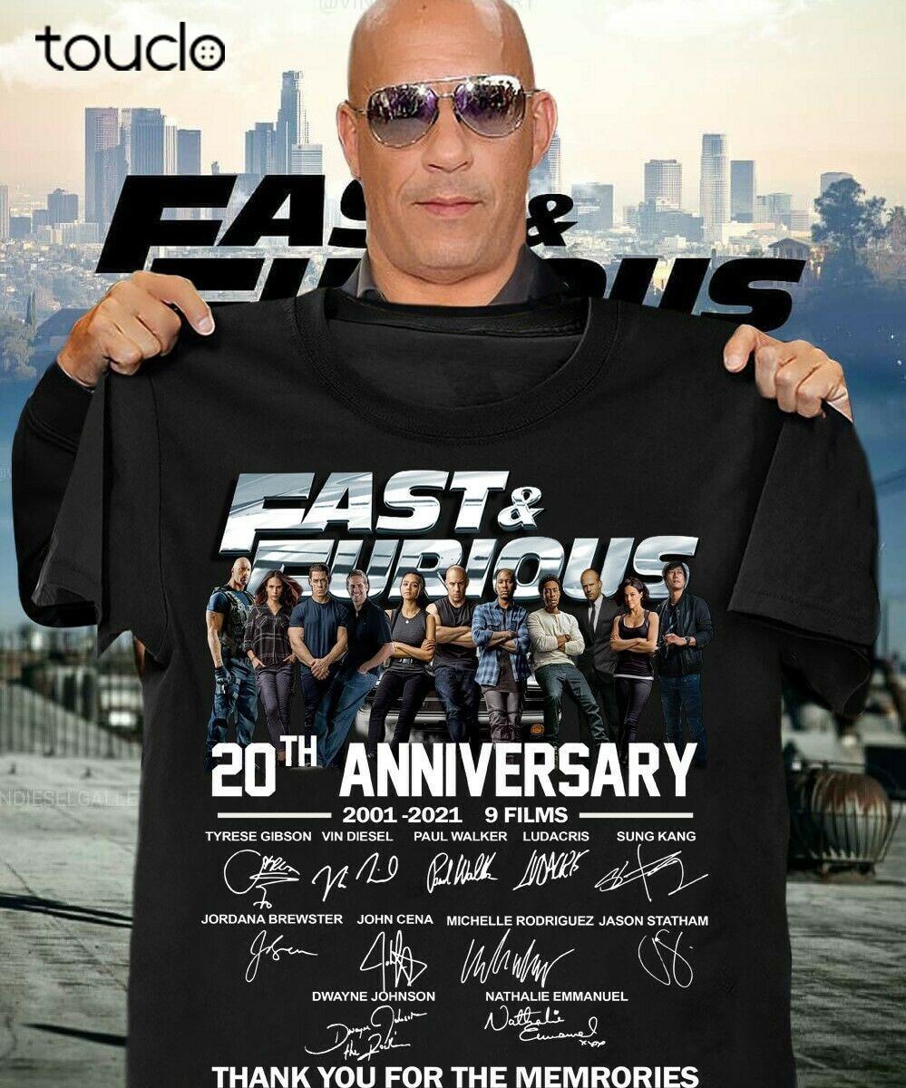 Fast. and. furious 20th anniversary 2001 2021 9 filmes obrigado você camiseta