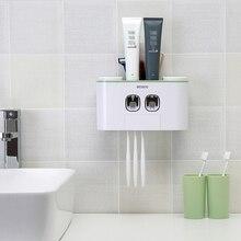 Exprimidor de pasta dental de montaje en pared dispensador de pasta dental automático soporte para cepillo de dientes accesorios de baño estante de almacenamiento con 4 tazas
