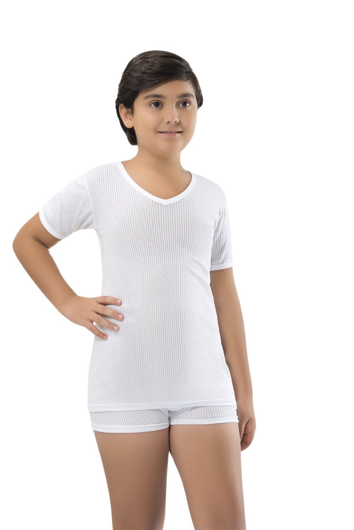 2-Pack White Striped Ribbon V-Neck Half Sleeve Boys  Undershirt Tops Soft Breathable Cotton Children Singlet Kids T-Shirt Baby