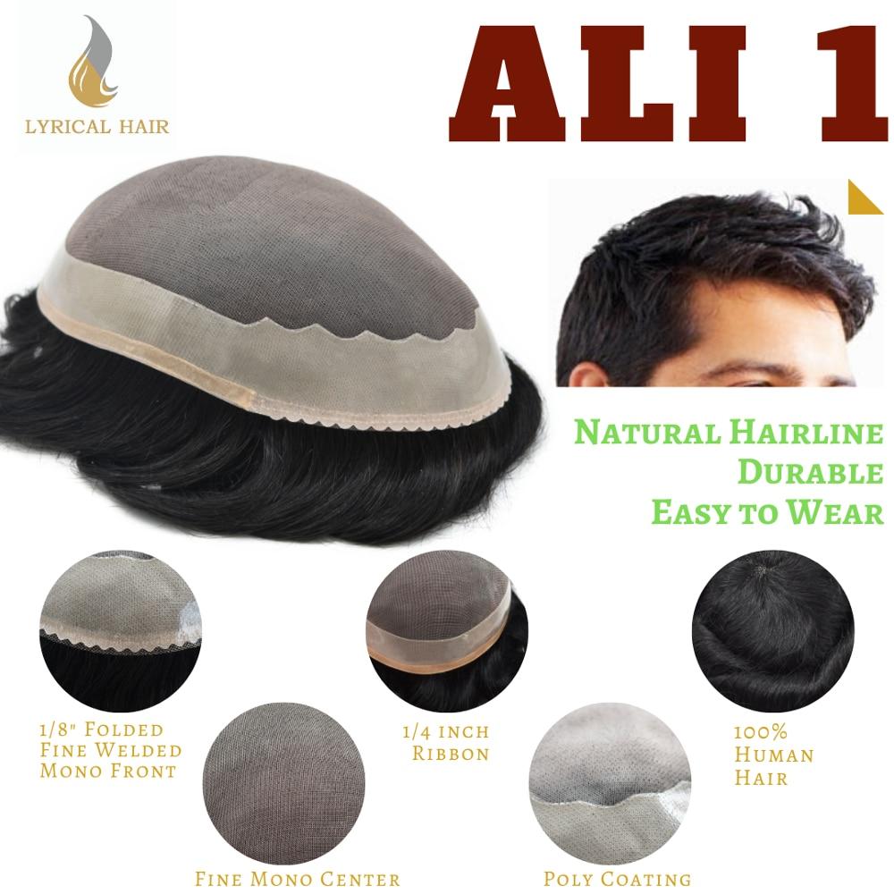 Fino Mono para hombres tupé Poly Coating Around Durable Hair System peluca humana Remy negro pelucas ALI1