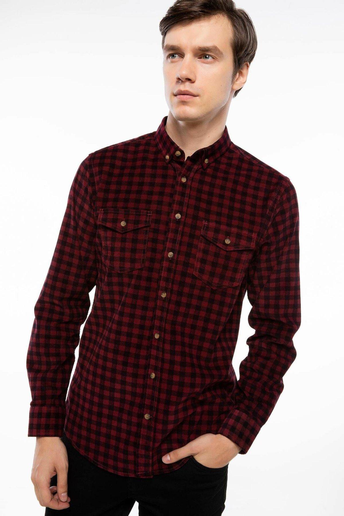 DeFacto Man Classics Red Green Black Plaids Shirts Men Long Sleeve Cotton Pockets Shirt Tops Casual-H3713AZ18AU