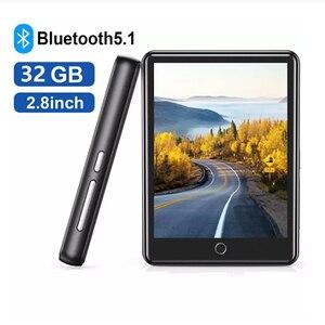 """Image 1 - Lecteur MP3 Bluetooth 2.8 """"plein écran tactile Portable 32GB intégré grande mémoire HiFi lecteur de musique FM Radio podomètre vidéo Playe"""