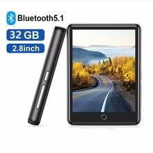 """Lettore MP3 Bluetooth 2.8 """"Full Touch Screen portatile 32GB memoria integrata lettore musicale HiFi Radio FM pedometro riproduzione Video"""