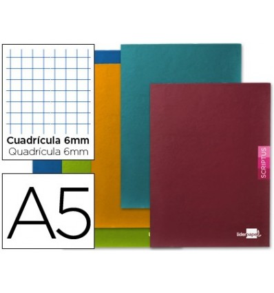SCHOOL NOTEBOOK LEADERPAPER SCRIPTUS 48H DIN A5 TABLE 6 MM PAPER 90 GR WITHOUT MARGIN 5 PCs