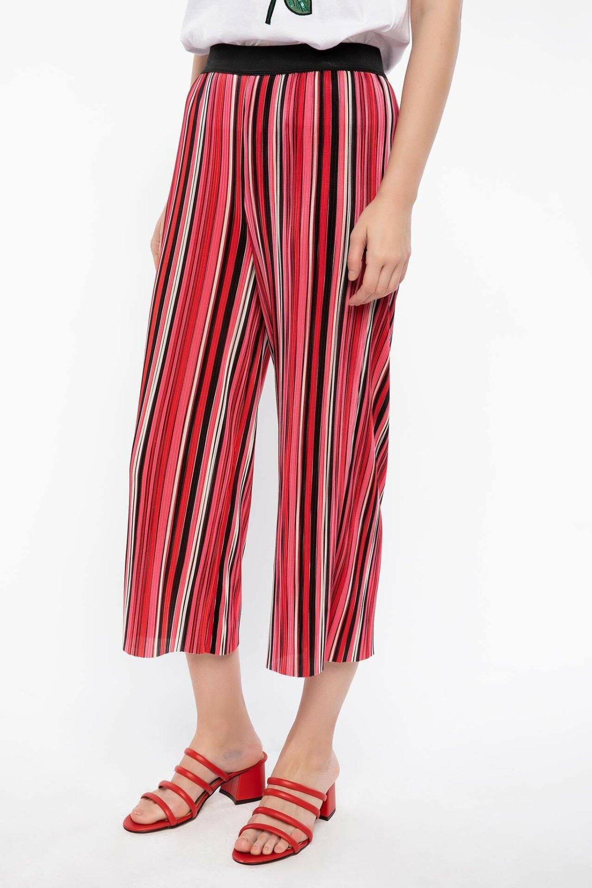 DeFacto Fashion Women Striped Trousers Female Casual Comfort Crop Pants High Qualilty Loose Wide Leg Pant Female - J5994AZ18HS