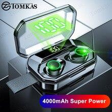 TWS 5.0 Bluetooth słuchawki 4000mAh wyświetlacz LED bezprzewodowe słuchawki Bluetooth IPX7 wodoodporne słuchawki douszne Stereo zestawy słuchawkowe z mikrofonem