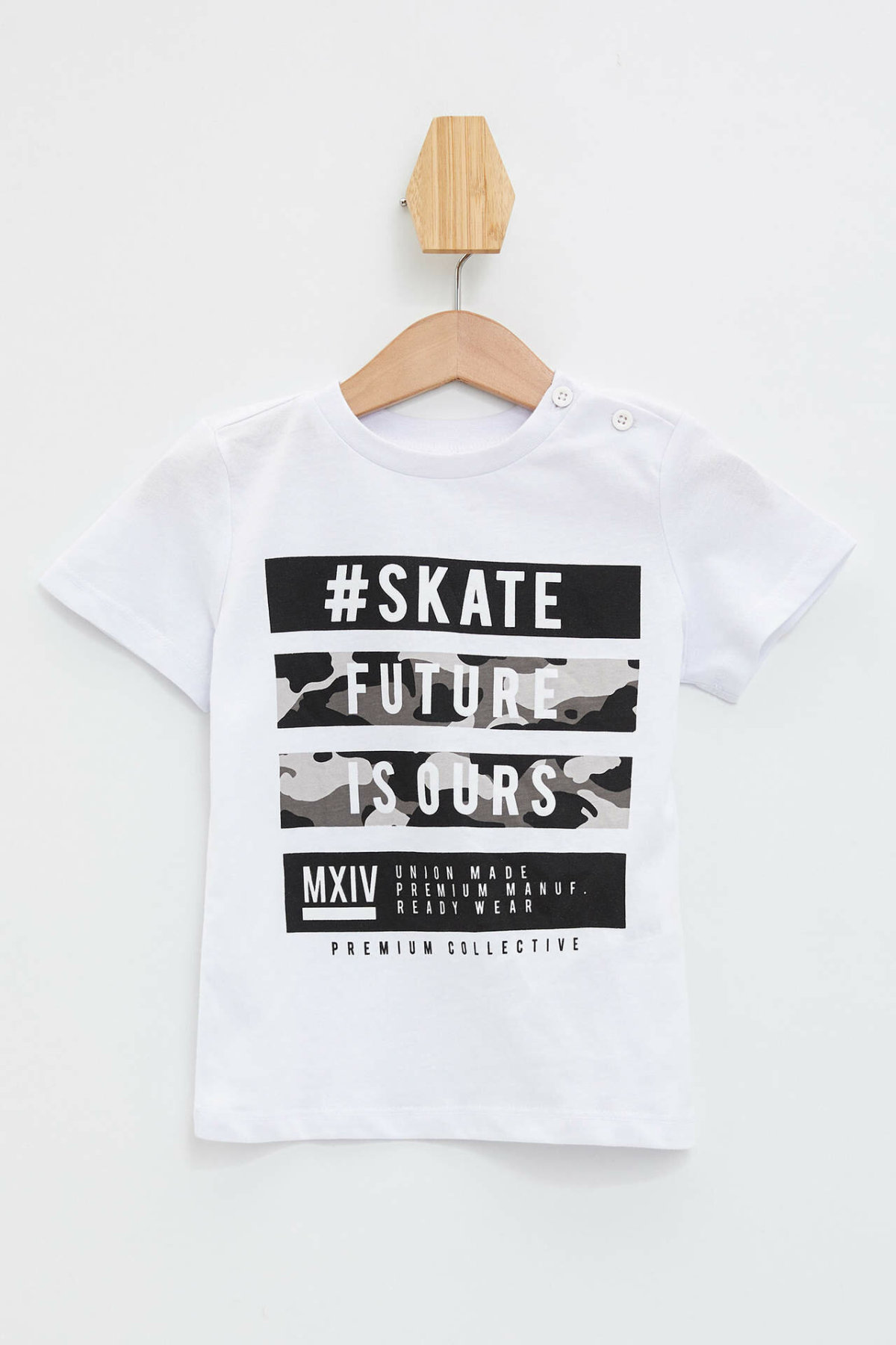 DeFacto New Boy Fashion O-neck Short Sleeve Boys Casual Letter Print T-Shirt Kids High Quality Tee Summer White - L6148A219HS