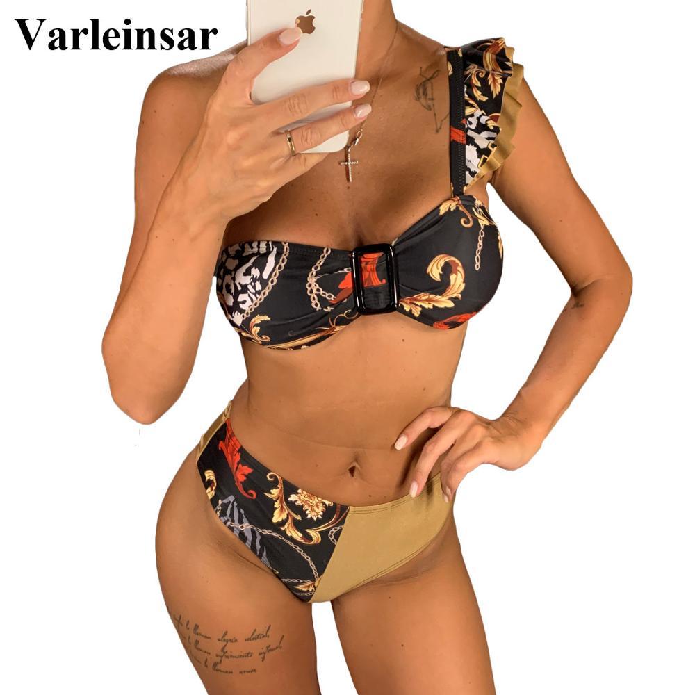 Eine Schulter Bikini Hohe Taille Badeanzug 2019 Frauen Bademode Zwei stücke Bikini set Badende Spleißen Badeanzug Schwimmen Tragen v1705