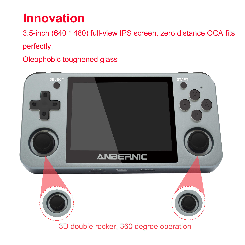 ANBERNIC RG350M Retro Giocatore del Gioco Portatile RG350 di Aggiornamento del Metallo In Lega di Alluminio Borsette 640*480 IPS Dello Schermo di Trasporto Mini HDMI adattatore