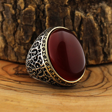 925 Sterling Silver Ring for Men Red Agate Stone Onyx Zircon