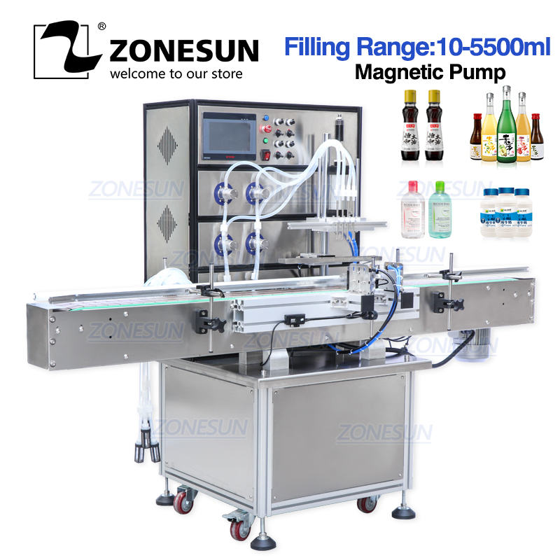 ZONESUN Magnetic Pump Aerosol Soda Bottled Water Automatic Packing Bottle Alcohol Hydrogen Peroxide Filling Machines Liquid