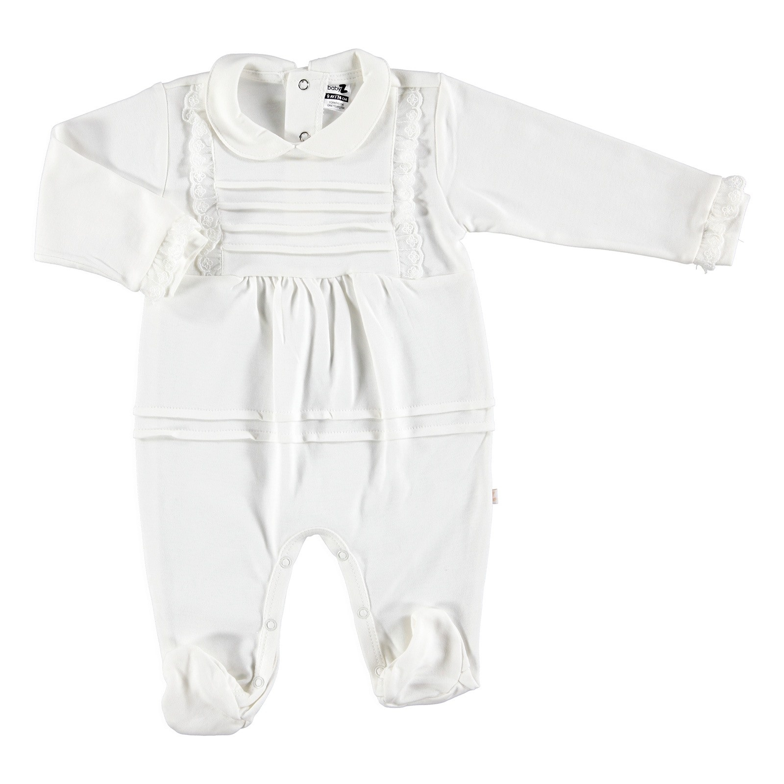 Ebebek BabyZ Baby Lacy Detail Special Day Footed Romper